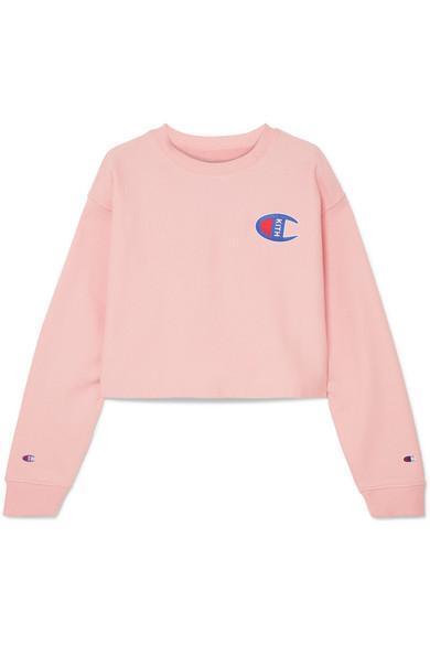 Champion Brianna Oversized Cropped Appliquéd Cotton-Blend Jersey Sweatshirt