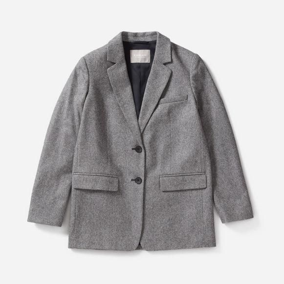 Women's Oversized Blazer by Everlane in Grey Herringbone, Size 8