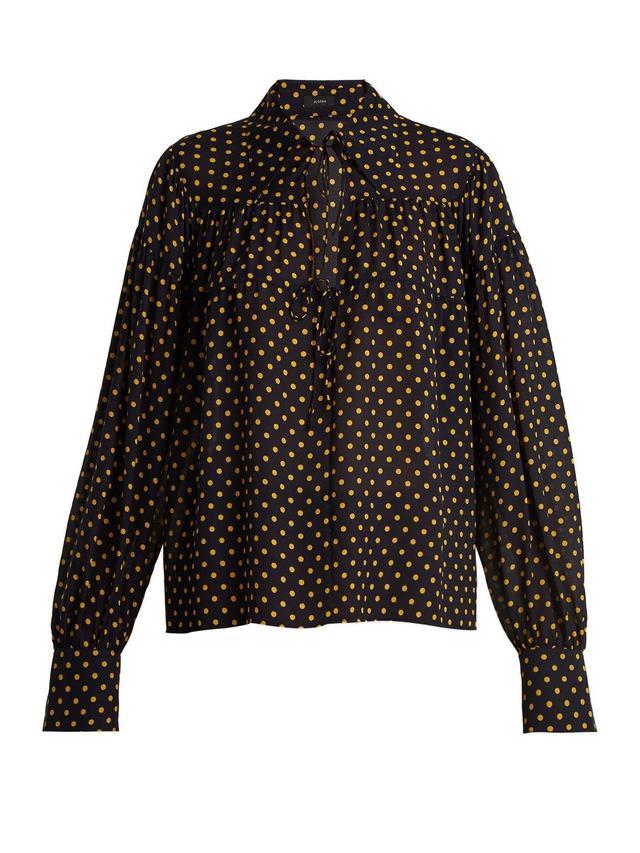 Crosby polka-dot print tie-neck silk-chiffon shirt