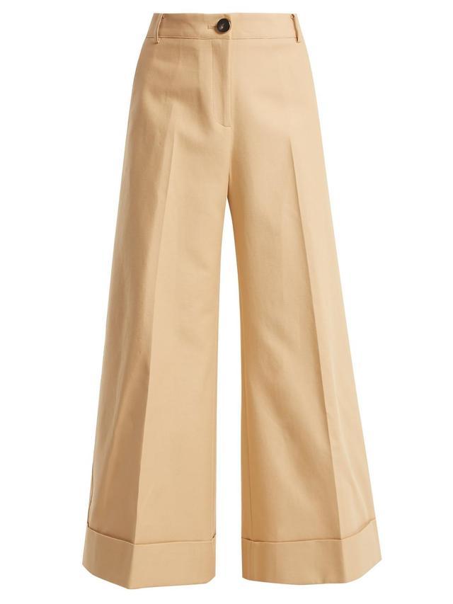 Carine cotton-twill wide-leg trousers