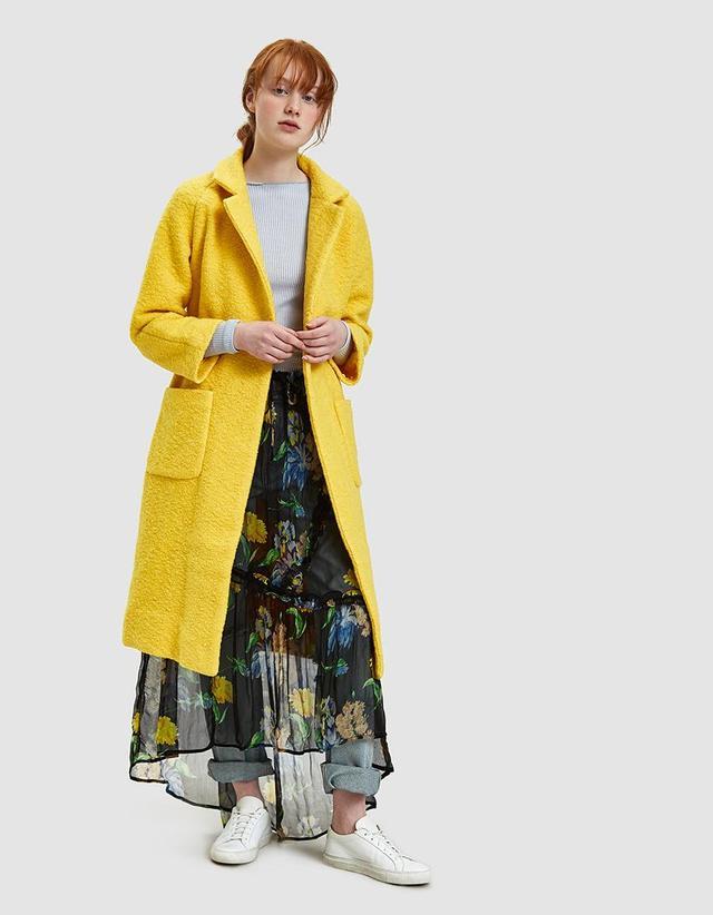 Fenn Long Wrap Coat in Lemon
