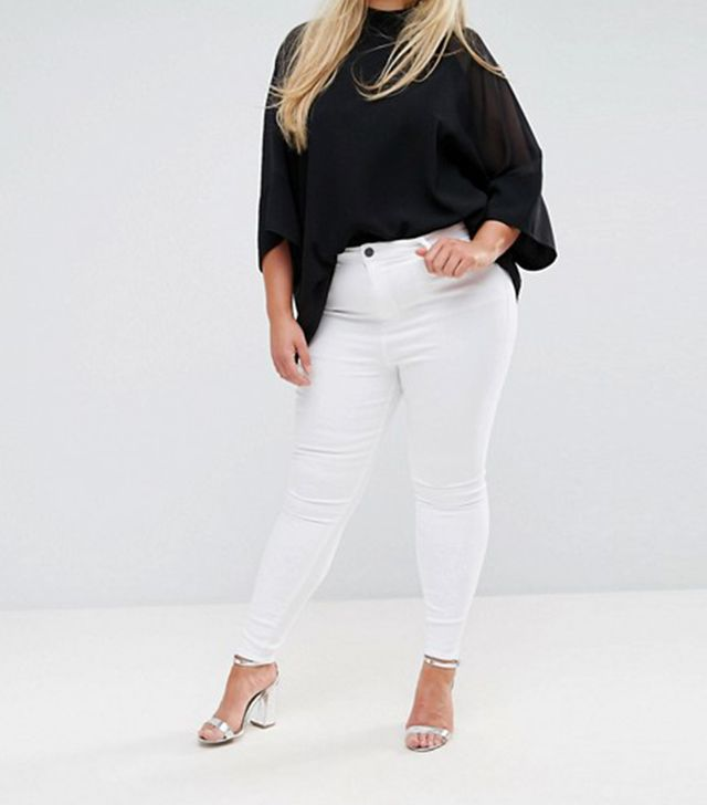 ASOS CURVE RIDLEY High Waist Skinny Jeans In Optic White