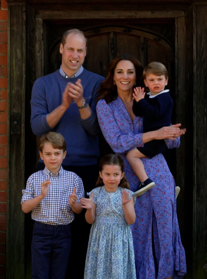 Kate Middleton wearing blue floral ghost dress: