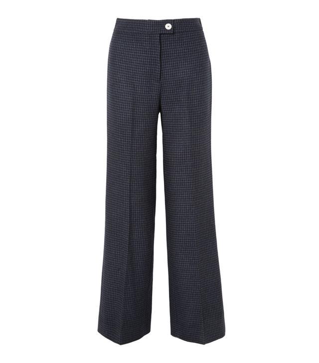 Houndstooth Wool-blend Felt Wide-leg Pants