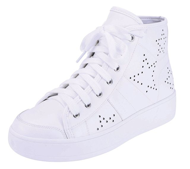 Cambridge Select Closed Round Toe Lace-Up Perforated Star Print High Top Casual Sport Fashion Sneaker