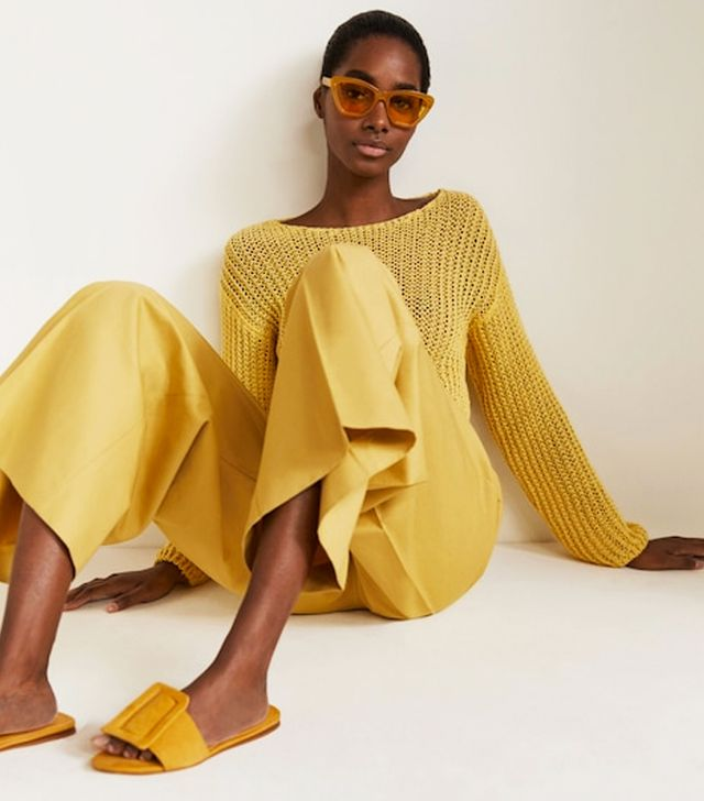 generation z yellow: Mango Buckle Flat Sandals