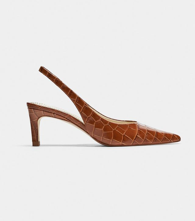 Zara Embossed Leather Slingback Shoes