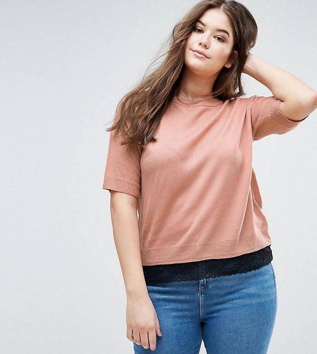 ASOS CURVE Sweater with Lace Hem