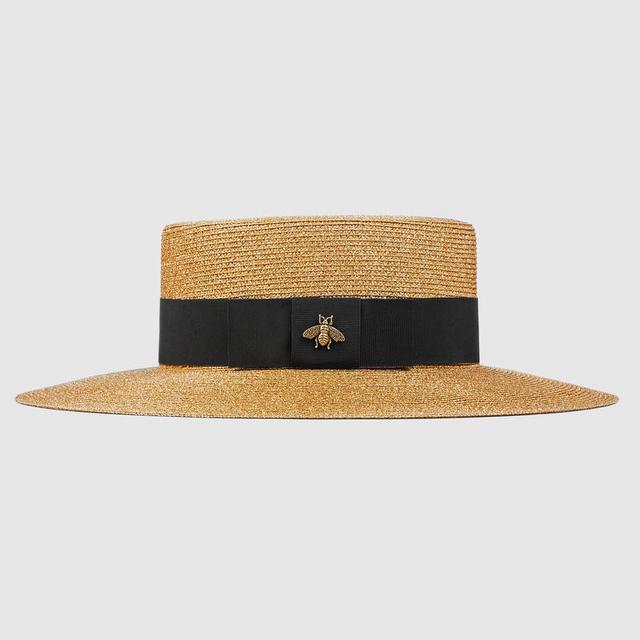 Embellished Grosgrain-Trimmed Straw Hat