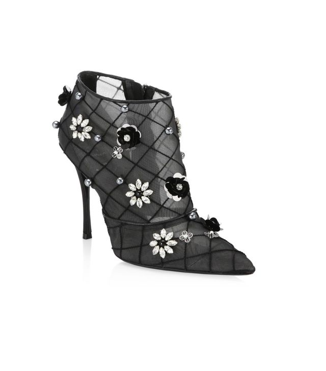 Roger Viver Floral Point Toe Booties