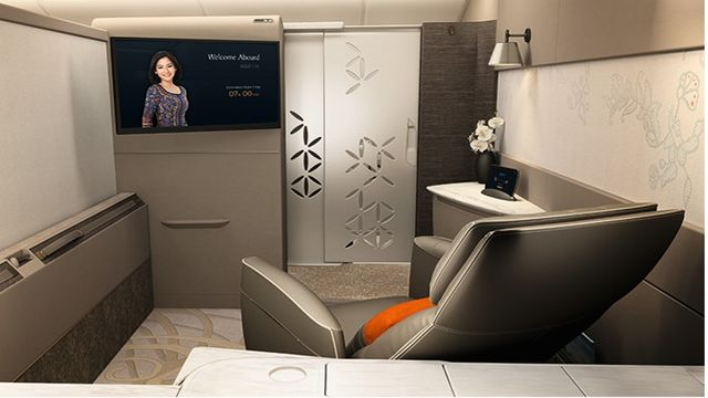 The high-definition TV is paired with noise-cancelling headphones and a sliding glass door, ensuring that passengers can truly zone out and relax on their flight.