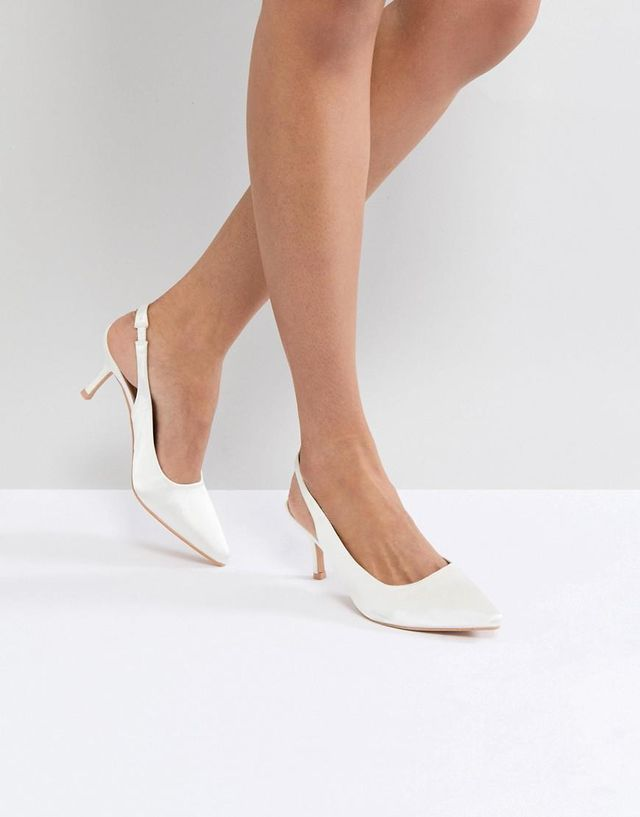 White Satin Kitten Heeled Sling Back Shoes