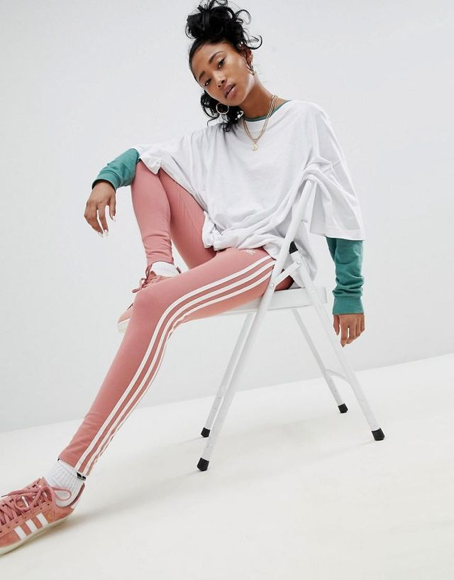 Three Stripe Leggings In Pink