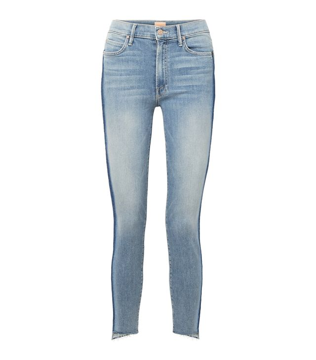 Mother The Stunner Striped Cropped Frayed High-Rise Skinny Jeans