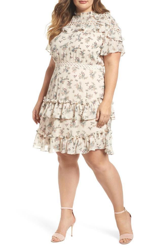 Plus Size Women's Glamorous Print Ruffle Dress
