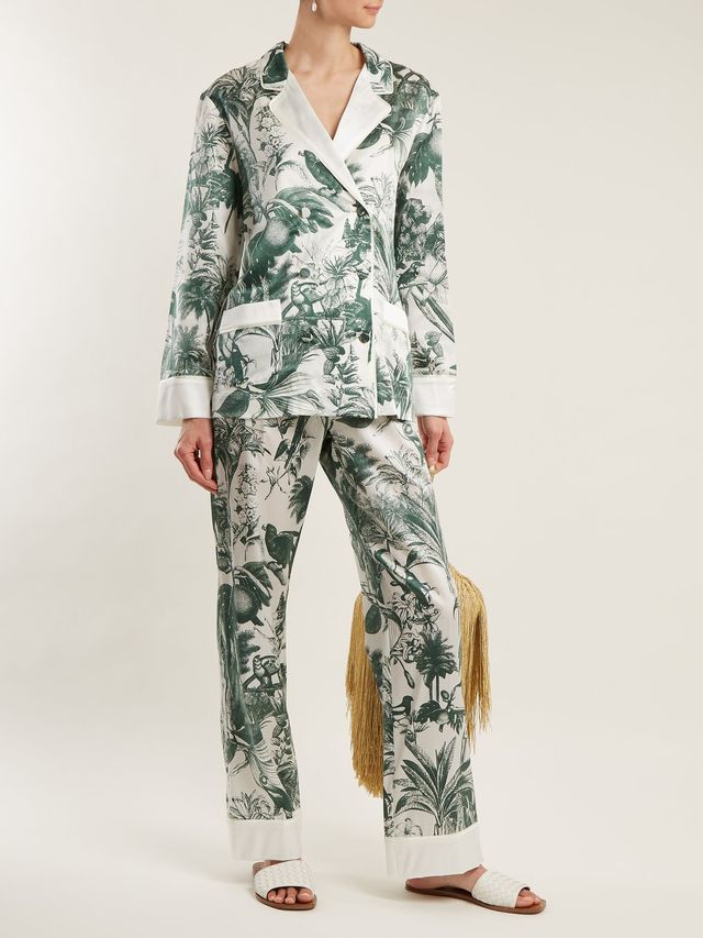 Philotes palm-print cotton and silk-blend jacket
