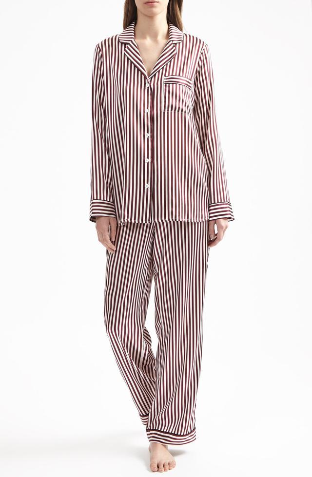Yolke Damson Stripe Stretch Silk Pyjama Set