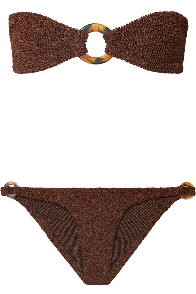 Gloria Embellished Seersucker Bandeau Bikini
