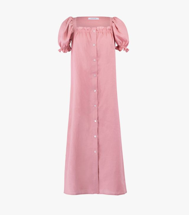 Sleeper Brigitte Pink Linen Maxi Dress