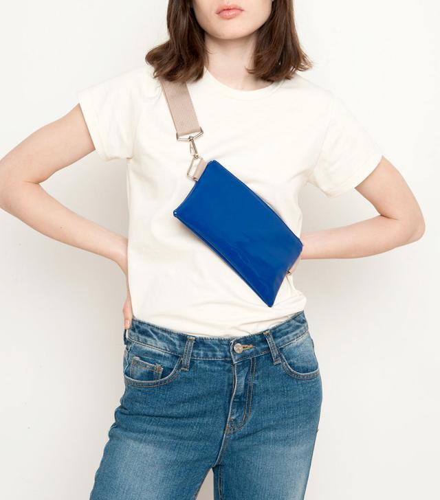 Frankie Shop Blue Patent Cross Body Belt Bag