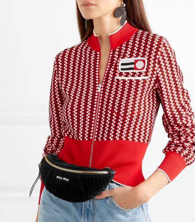 Convertible Matelassé Velvet Belt Bag
