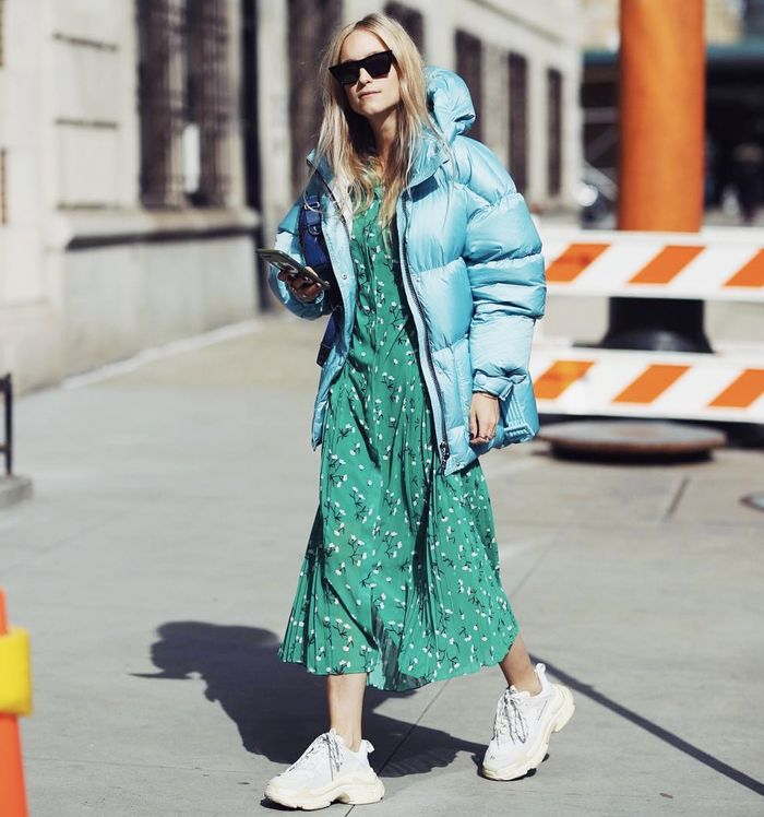 best green printed dresses: Charlotte Groenveld wearing Kitri's green Gabriella pleated shirt dress