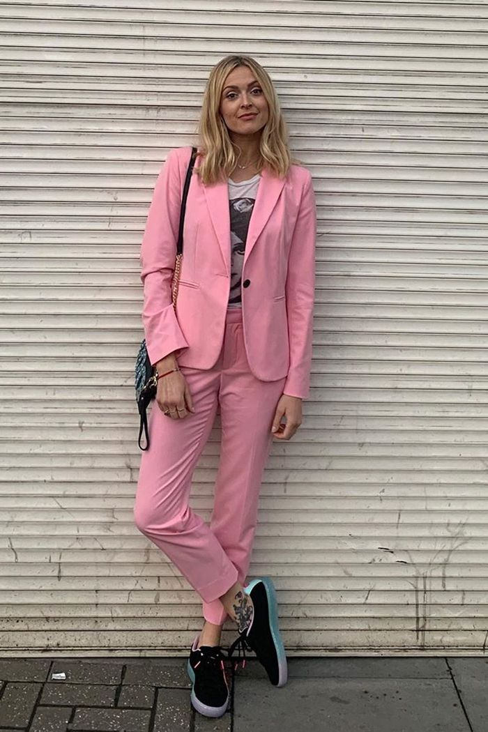 Fearne Cotton wearing a pink Zara suit