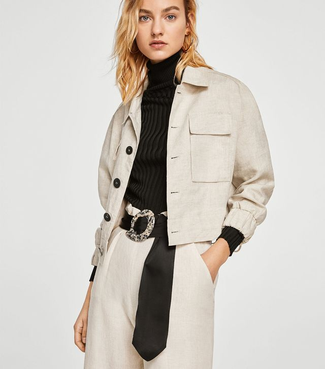 Mango Cropped Linen-Blend Jacket