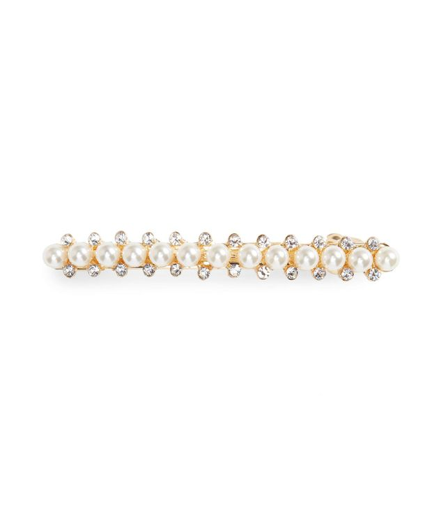 Silver-Tone Faux Pearl and Crystal Hair Slide