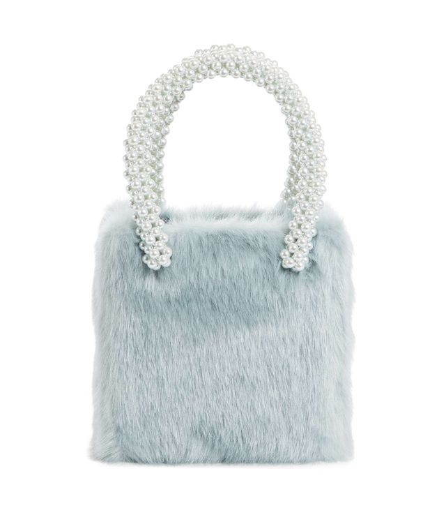 Una Check Faux Fur Bag With Imitation Pearl Handles