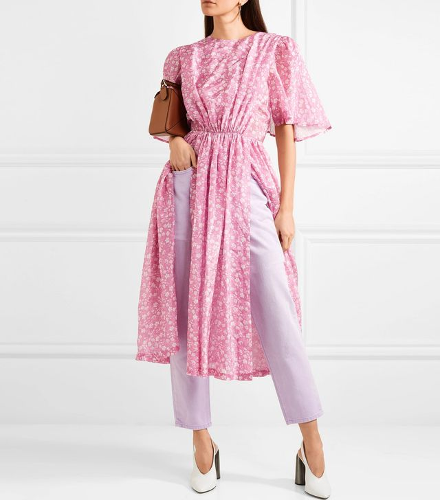 Gathered Floral-Print Georgette Midi Dress