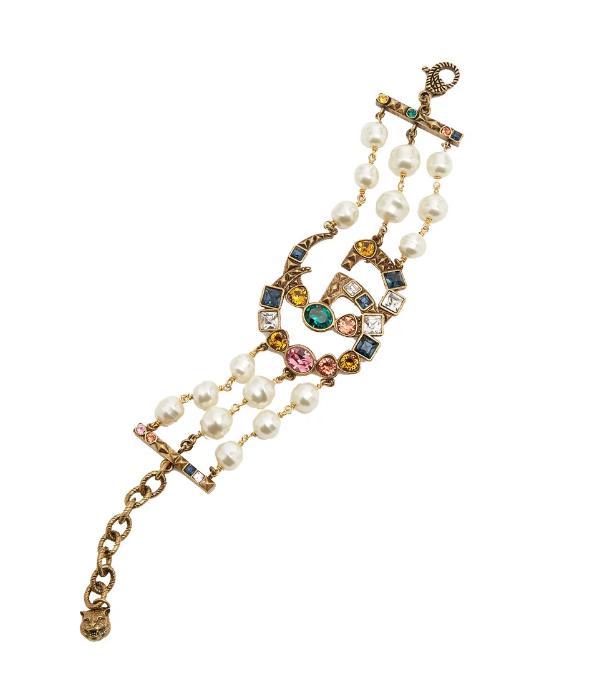 Crystal and pearl-embellished GG bracelet