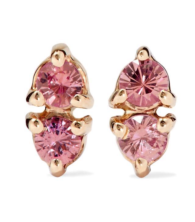 Two Step 14-karat Gold Sapphire Earrings