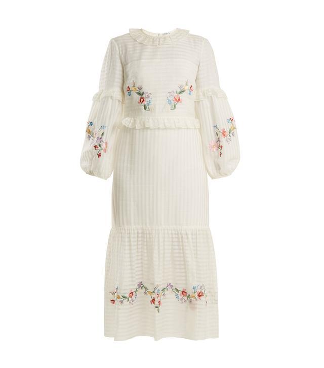 Adeline floral-embroidered cotton-blend dress