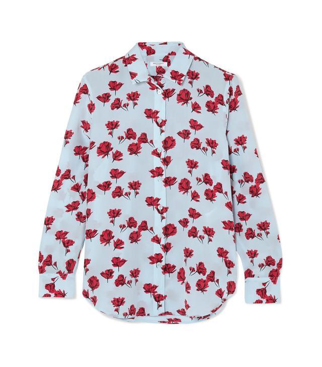 Leema Floral-print Washed-silk Shirt