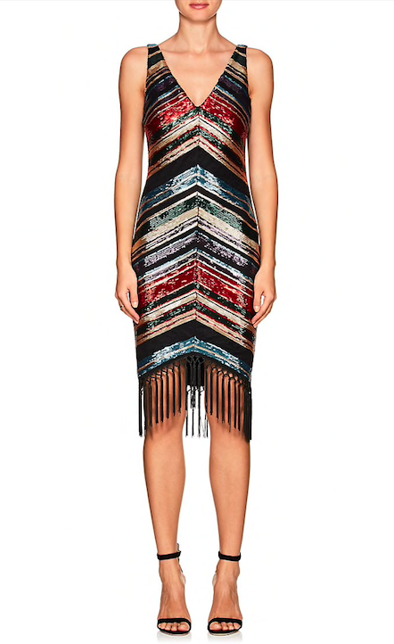 Women's Sequined Striped Fitted Cocktail Dress