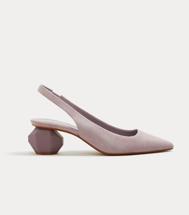 Mango Geometric Heel Suede Shoes