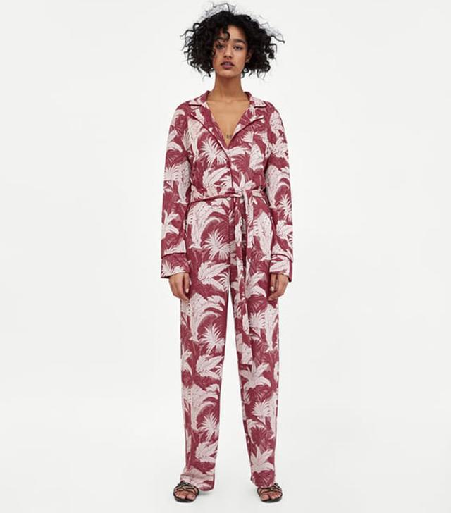 Zara Floral Jacquard Jumpsuit