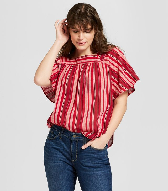 Universal Thread Striped Ruffle Sleeve Top