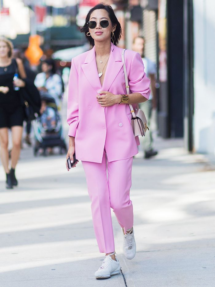 Pastel Suits and Trainers Trend
