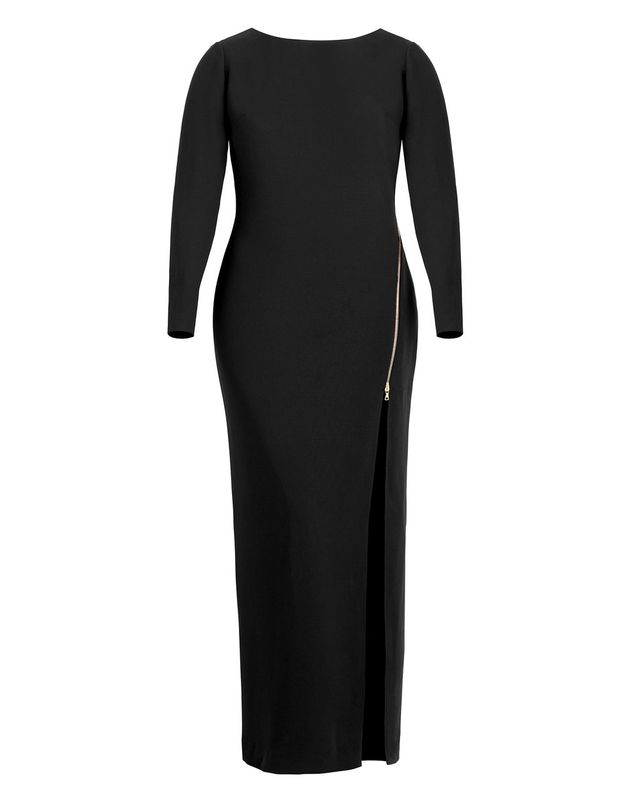 Marlene Olivier Victoire Long Sleeve Gown with Gold Zipper