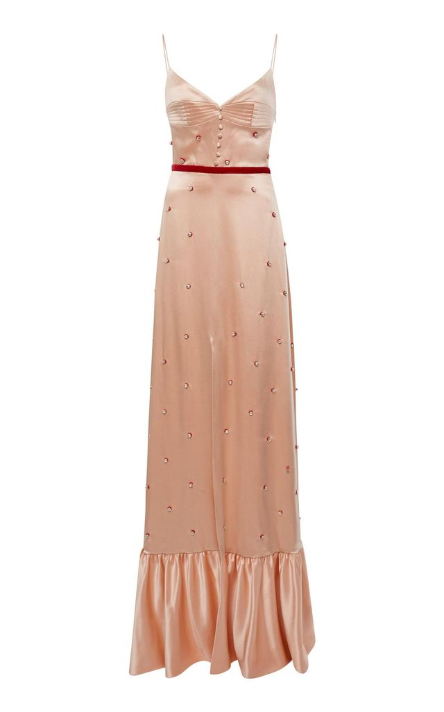 Arabian Song Pink Satin Beaded Gown