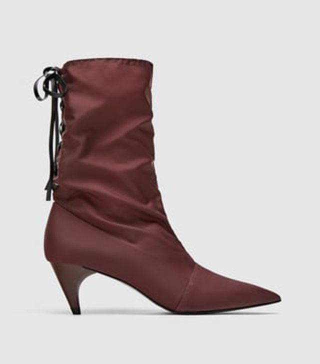 Zara Fabric High Heel Ankle Boots With Lace-Up Detail