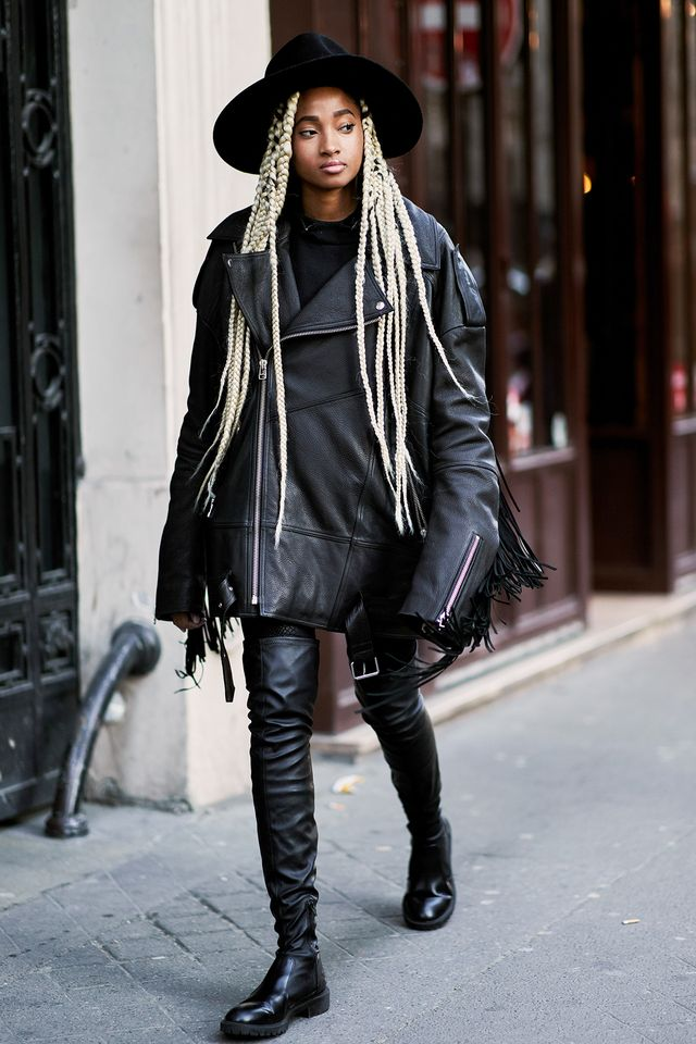 While cropped shapes are trending right now, there's something undeniably cool about how this oversize jacket goes down to meet her over-the-knee boots.