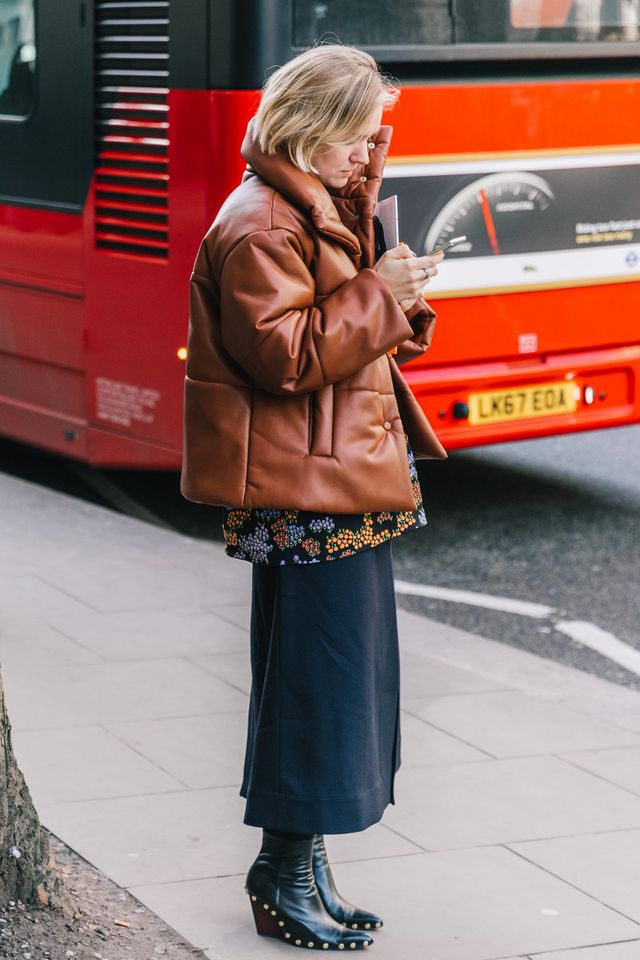 Behold a brand-new style phenomenon: the leather puffer coat.