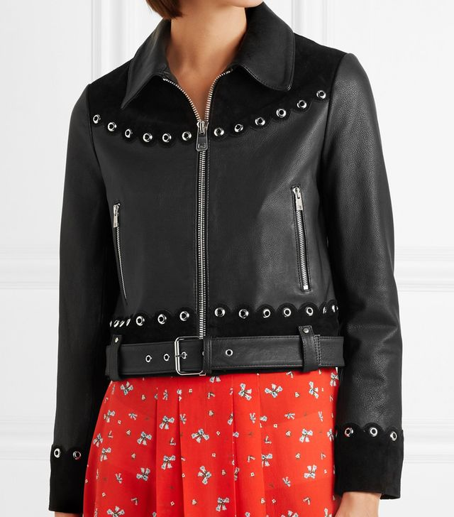 Embellished Suede-Trimmed Leather Jacket