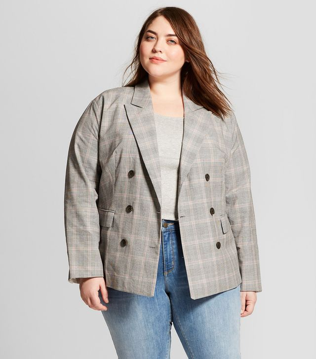 Plaid Roll-up Cuff Poplin Blazer