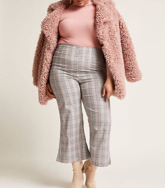 Plaid High-Rise Flare Pants