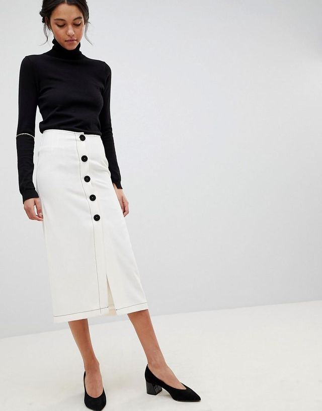 Midaxi Skirt With Contrast Buttons