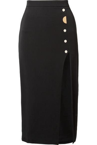 Dahlia Embellished Stretch-Silk Crepe Pencil Skirt
